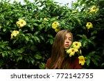natural girl in nature... | Shutterstock . vector #772142755