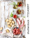 ingredients for making tapas or ... | Shutterstock . vector #772143097
