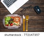 healthy business lunch at... | Shutterstock . vector #772147357