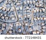 aerial view of snowed in... | Shutterstock . vector #772148431