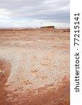 dinosaur foot prints near Tuba City, Arizona USA. On navajo land. In open air and very accessible. - stock photo