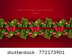 christmas holiday border with... | Shutterstock .eps vector #772173901
