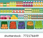 store shelves with groceries ...