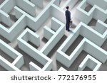 businessman is trying to escape ... | Shutterstock . vector #772176955