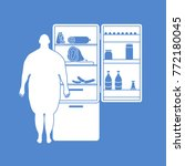 fat man stands at the fridge... | Shutterstock .eps vector #772180045