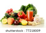 composition with raw vegetables | Shutterstock . vector #77218009