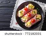 festive snack  roll ham stuffed ... | Shutterstock . vector #772182031