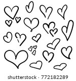 hand drawn hearts set isolated. ... | Shutterstock .eps vector #772182289