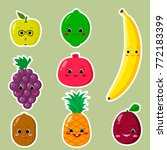 cute cartoon fruit symbols set... | Shutterstock .eps vector #772183399