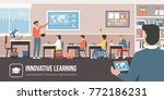 technology in the classroom  a... | Shutterstock .eps vector #772186231