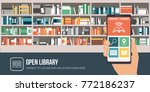 library app on a smartphone and ... | Shutterstock .eps vector #772186237