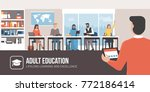 professor teaching to adult... | Shutterstock .eps vector #772186414
