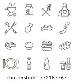 grill or barbecue icons thin... | Shutterstock .eps vector #772187767