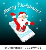 santa wishes merry christmas...   Shutterstock .eps vector #772199431