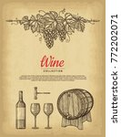 hand drawn wine background. old ... | Shutterstock .eps vector #772202071
