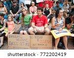 activists signs express support ... | Shutterstock . vector #772202419