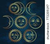 boho chic flash tattoo design... | Shutterstock .eps vector #772205197