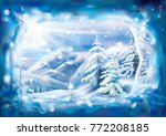 winter landscape with covered... | Shutterstock .eps vector #772208185