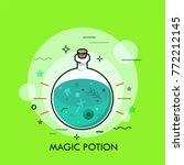 green liquid in round bottom... | Shutterstock .eps vector #772212145