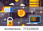 blockchain and bitcoin mining... | Shutterstock .eps vector #772220035