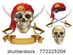 skull and sabers. pirate emblem.... | Shutterstock .eps vector #772225204