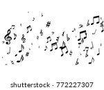 black musical notes flying... | Shutterstock .eps vector #772227307