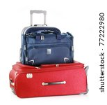 Tourist luggage consisting of large travel suitcases and a bag isolated on white. - stock photo