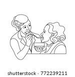 caring for the elderly... | Shutterstock .eps vector #772239211