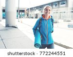 athlete woman with backpack ... | Shutterstock . vector #772244551