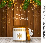 christmas card with wrapped... | Shutterstock .eps vector #772248961
