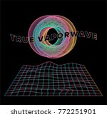 holographic pearly grid with 3d ... | Shutterstock .eps vector #772251901
