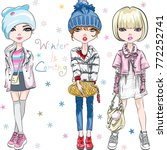 vector set of beautiful fashion ... | Shutterstock .eps vector #772252741
