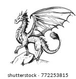 sketch of a dragon. hand drawn... | Shutterstock .eps vector #772253815