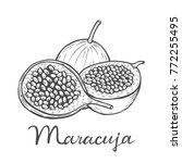 hand drawn maracuja passion... | Shutterstock .eps vector #772255495