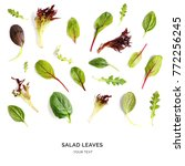 pattern with salad leaves.... | Shutterstock . vector #772256245