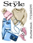 stylish clothes outfit. fashion ... | Shutterstock .eps vector #772260295