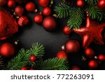 red christmas ornaments on... | Shutterstock . vector #772263091