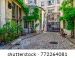 cozy street in paris  france.... | Shutterstock . vector #772264081