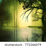 3d illustration of a forest... | Shutterstock . vector #772266079
