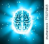 vector glowing human brain top... | Shutterstock .eps vector #772271815