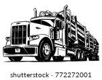 logging truck black and white... | Shutterstock .eps vector #772272001