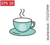 christmas hot coffee in cup.... | Shutterstock .eps vector #772272949