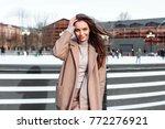 winter outdoor street portrait... | Shutterstock . vector #772276921