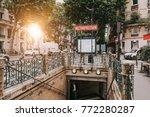 entrance to paris metro subway... | Shutterstock . vector #772280287