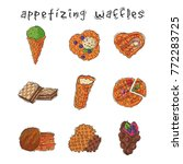 different wafer cookies waffle... | Shutterstock .eps vector #772283725