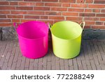 pink and green plastic laundry... | Shutterstock . vector #772288249