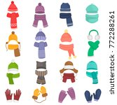 set of winter hats and scarfs... | Shutterstock .eps vector #772288261