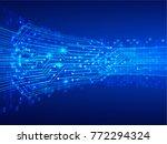 binary circuit board future... | Shutterstock .eps vector #772294324