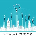 humans vs robots. new era of...   Shutterstock .eps vector #772295935