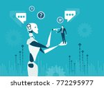 future reality  robot vs human. ... | Shutterstock .eps vector #772295977